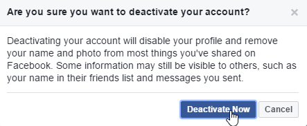 حذف اکانت فیسبوک