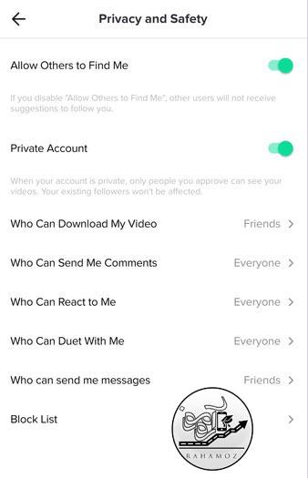 حریم خصوصی و امنیت در تیک تاک